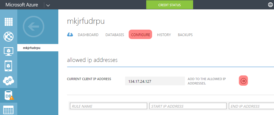 Add your IP to the list of the allowed IP addresses