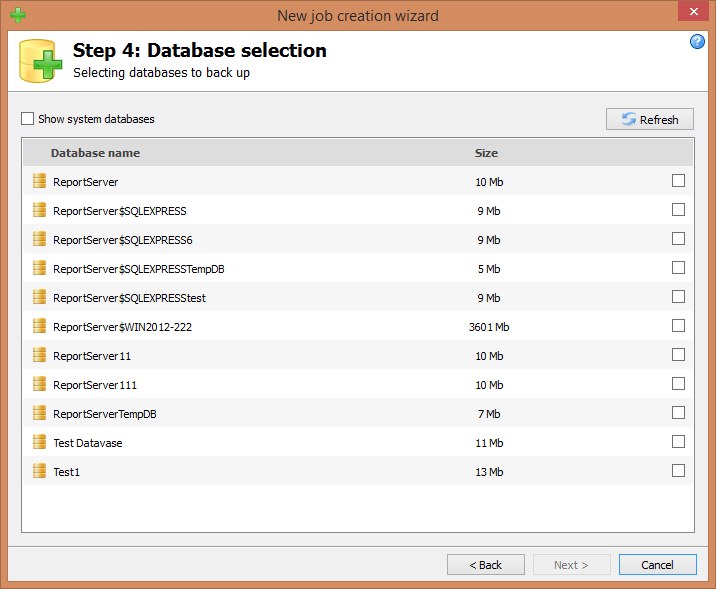 Step 4: Database selection