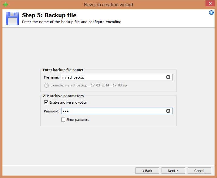 Step 5: Backup file