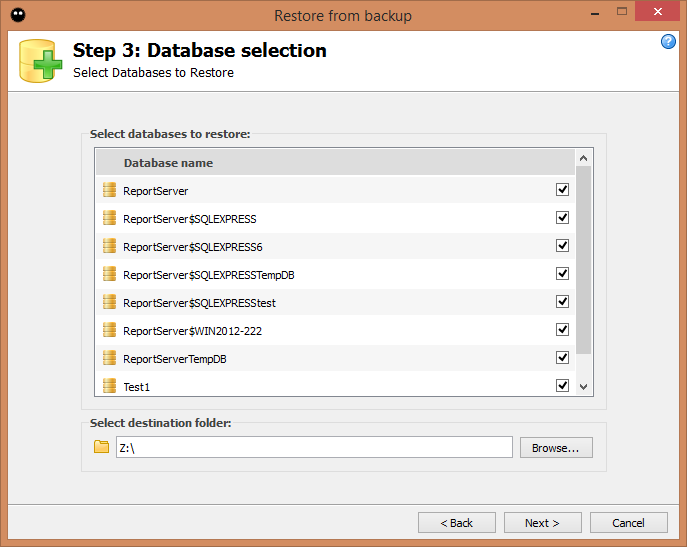 Step 3: Database selection