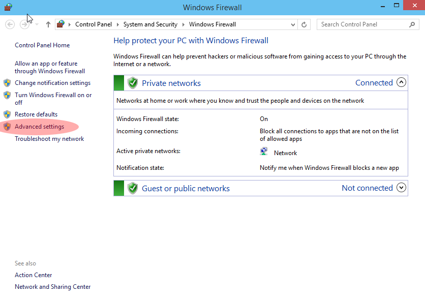 Windows Firewall configuration