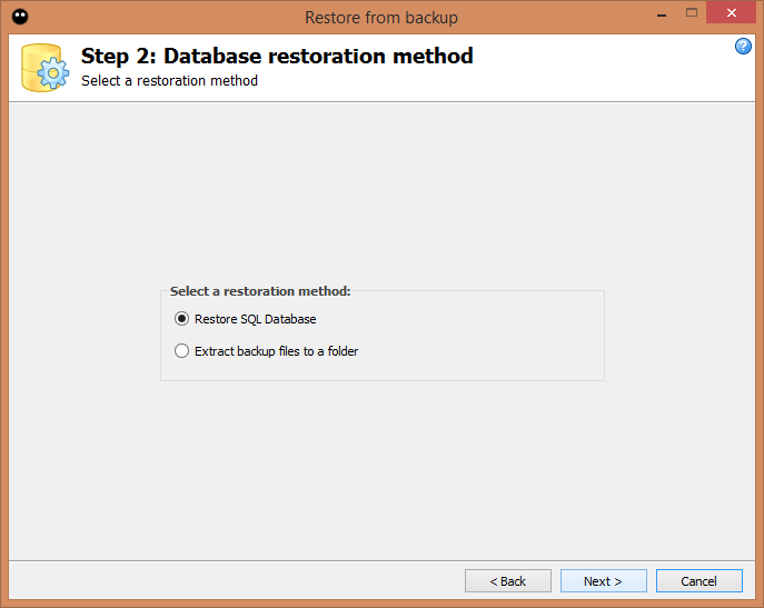 Step 2: Database restoration method