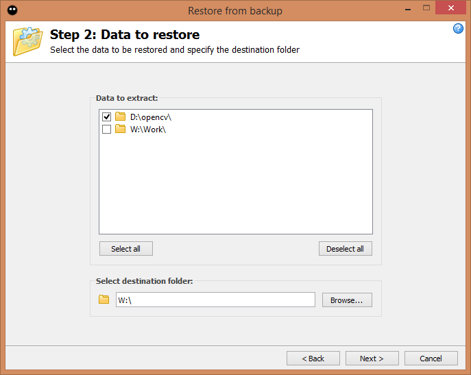 Step 2: Data to restore
