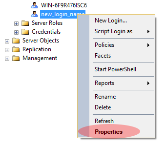 SQL Server user properties