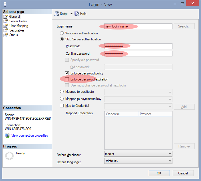Creating a new SQL Server user